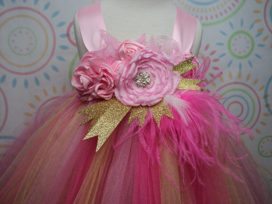 Wedding - READY TO SHIP for baby to 2T 3T toddler girl pink gold tutu dress w/headband cake smash over the top birthday wedding pageant princess photo