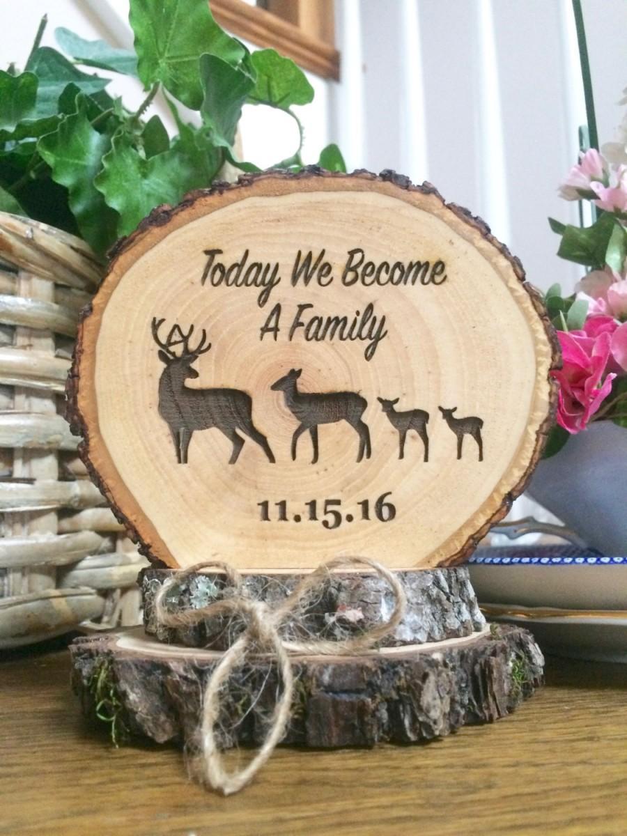 Rustic Wedding Cake Topper Wood Blended Family Custom Engraved Deer Keepsake