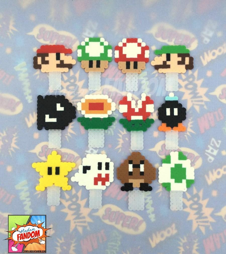 Mariage - Cupcake Toppers - Set of 12 - Super Mario Cake Toppers, Mario Cupcake Toppers, Video Game Wedding Cake Topper, Video Game Cupcake Toppers