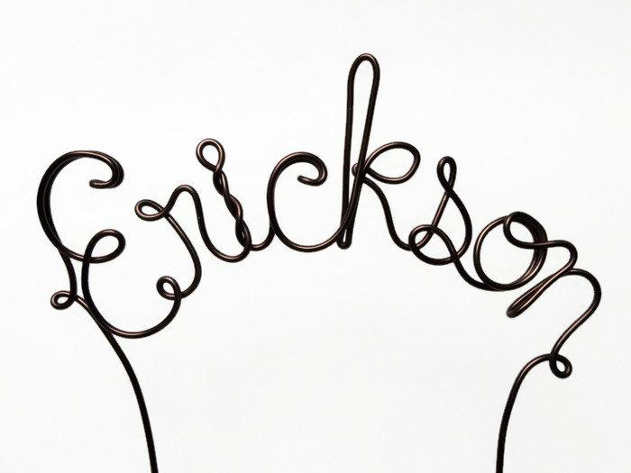 Mariage - Custom Name Wire Wedding / Birthday Cake Topper- Silver, Gold, Brown, Red, Black, Copper, Pink