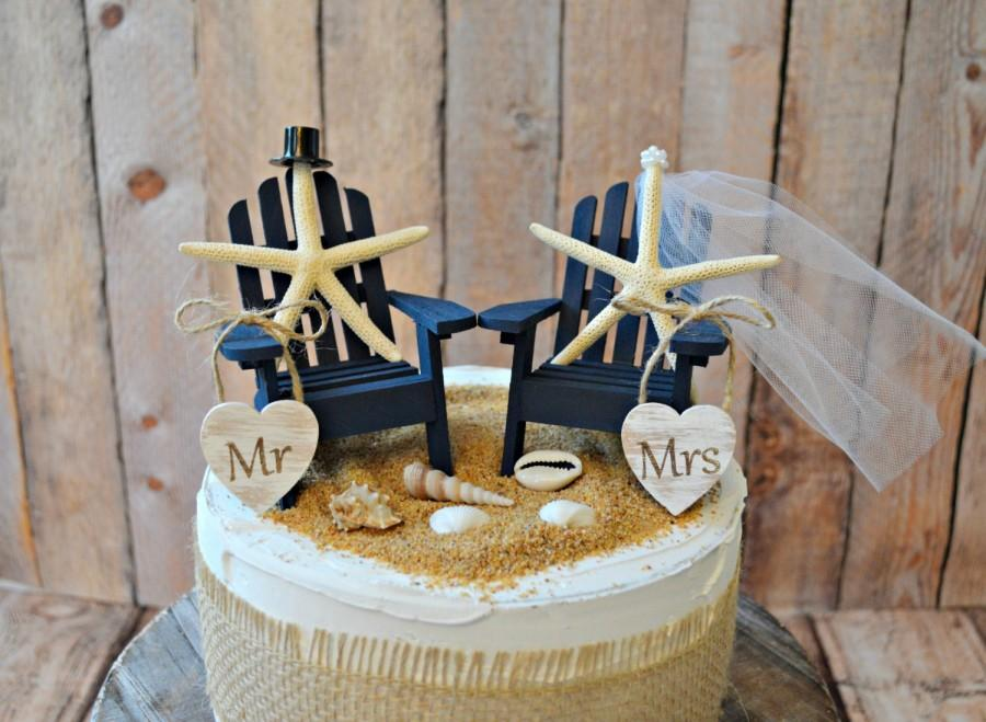 Navy Blue Nautical Beach Themed Wedding Cake Topper Adirondack Chairs Miniature Destination Grooms Starfish Tropical Decor