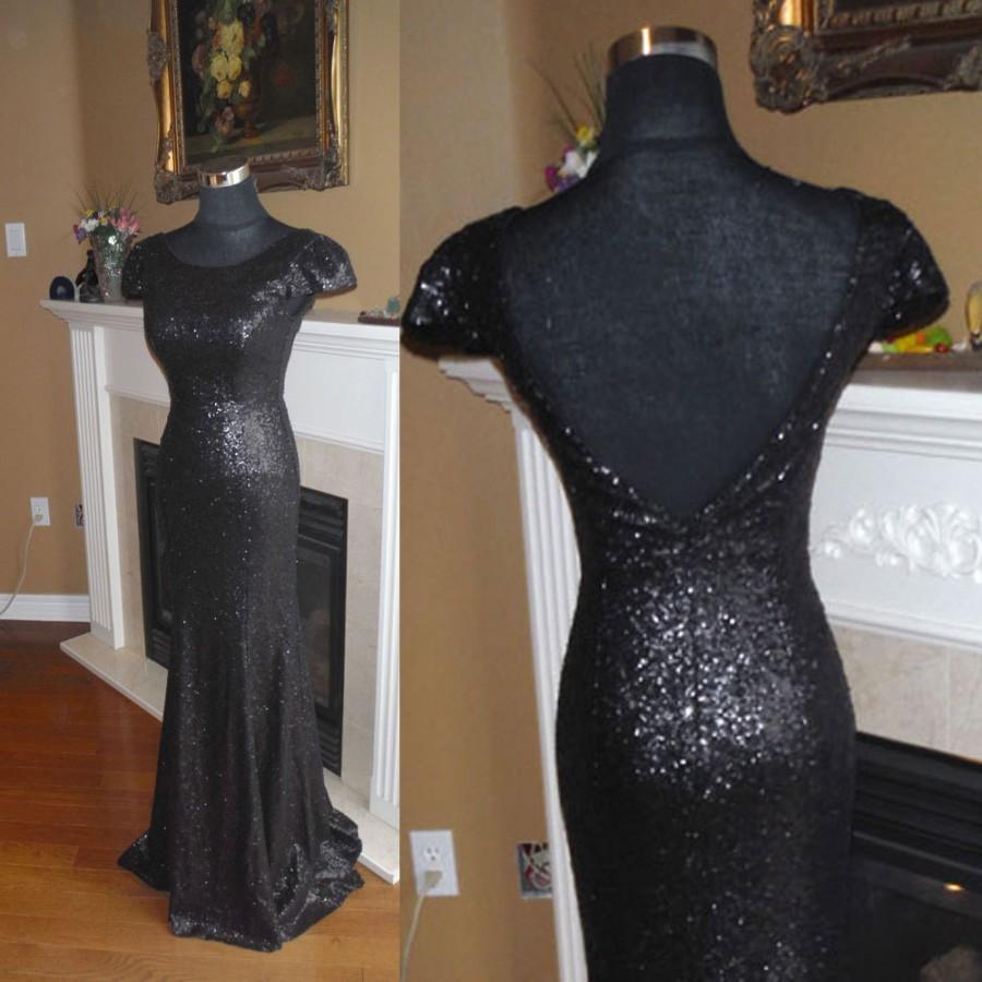 Mariage - Black sequin dress, black bridesmaid dress, bridesmaid sequin dress. black prom dress
