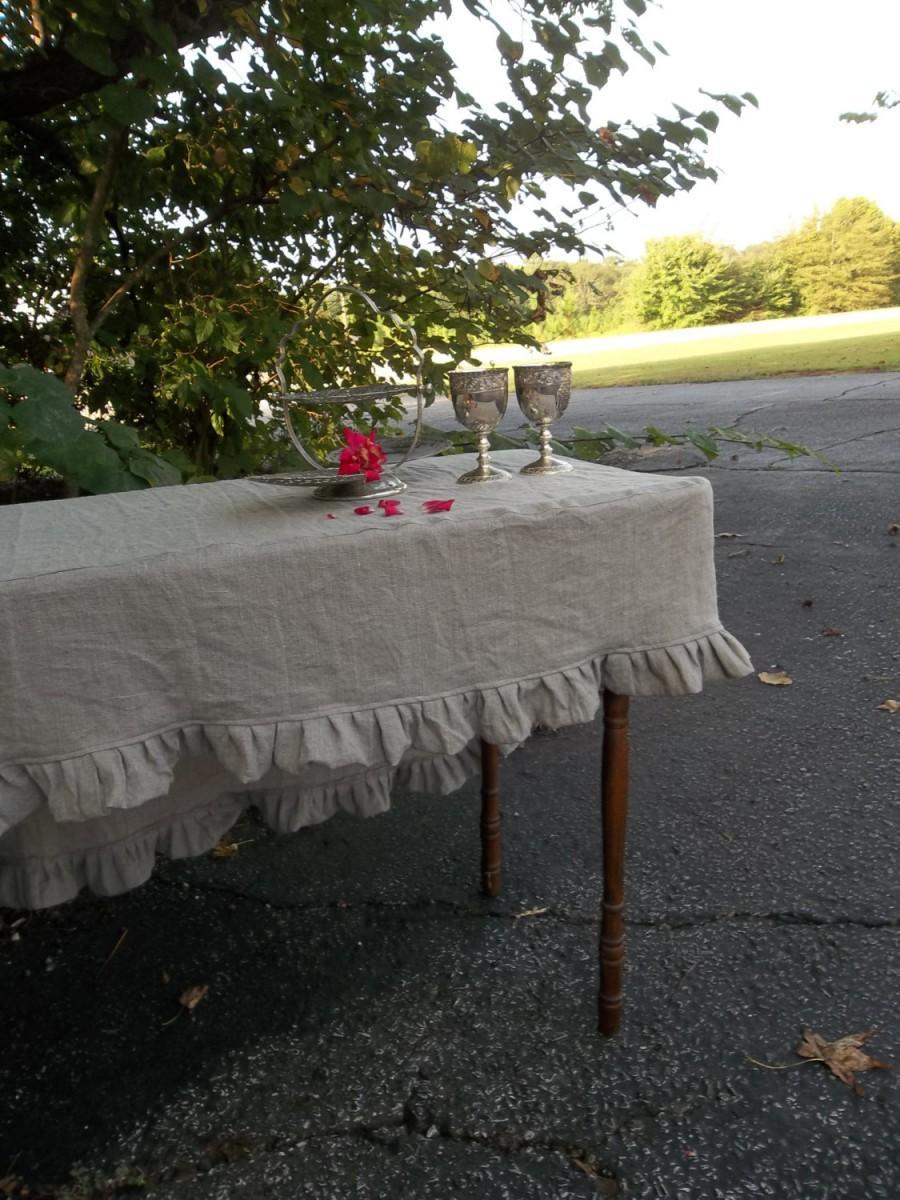 Attirant Slipcover Linen Tablecloth Ruffled Tablecloth Fitted Tablecloth Custom  Sizes Linen Table Cover French Prairie Wedding Decor Table Settings