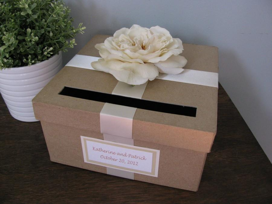 Rustic Wedding Card Box Custom Cardbox Handmade Recepton Gift Tag Ivory Rose