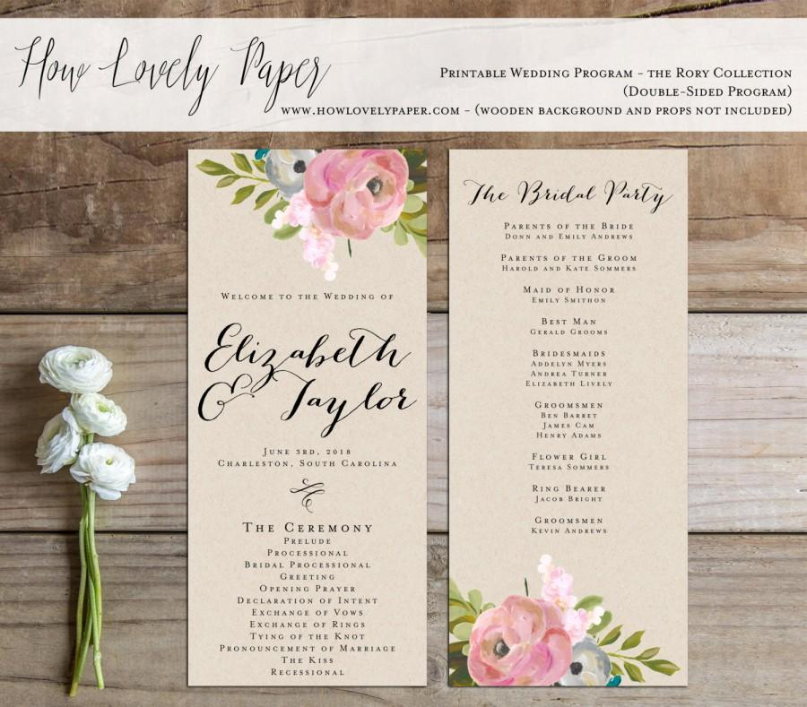زفاف - Printable Wedding Program - the Rory Collection