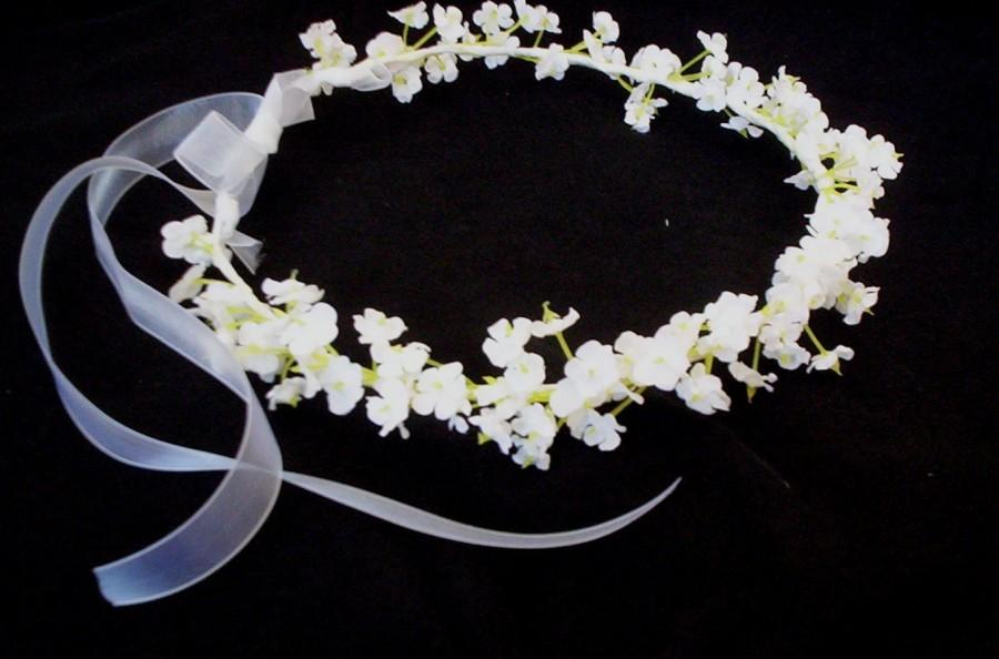 Wedding - Infant floral headband Artificial Babys Breath Flower Crown white Bridal headpiece Wedding hair wreath accessories  circlet baby photo prop