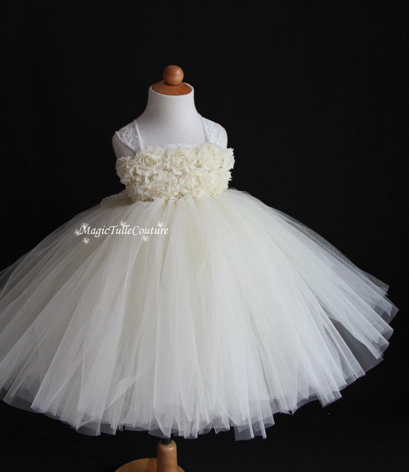 Hochzeit - Ivory Flower Girl Dress Shabby Chic Flowers Dress Tulle Dress Wedding Dress Birthday Dress Toddler Tutu Dress 1t 2t 3t 4t 5t Morden Wedding