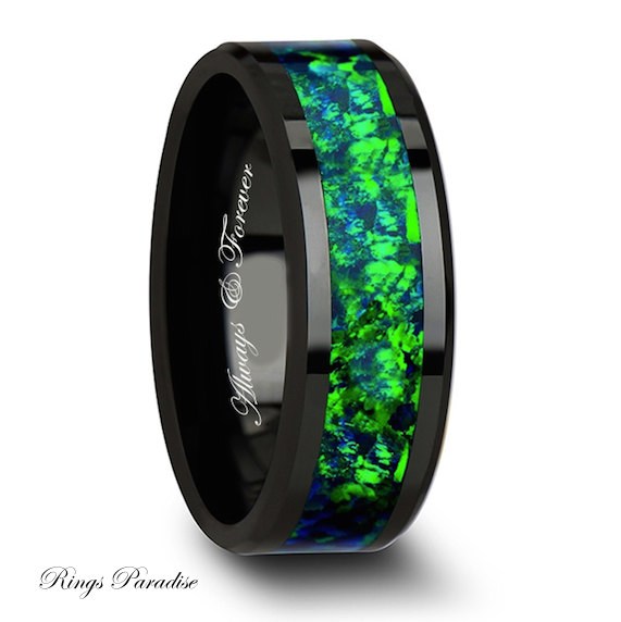 Wedding Band Ceramic Ring Mens Personalized Green Blue Inlay Gift Engagement Promise Rings