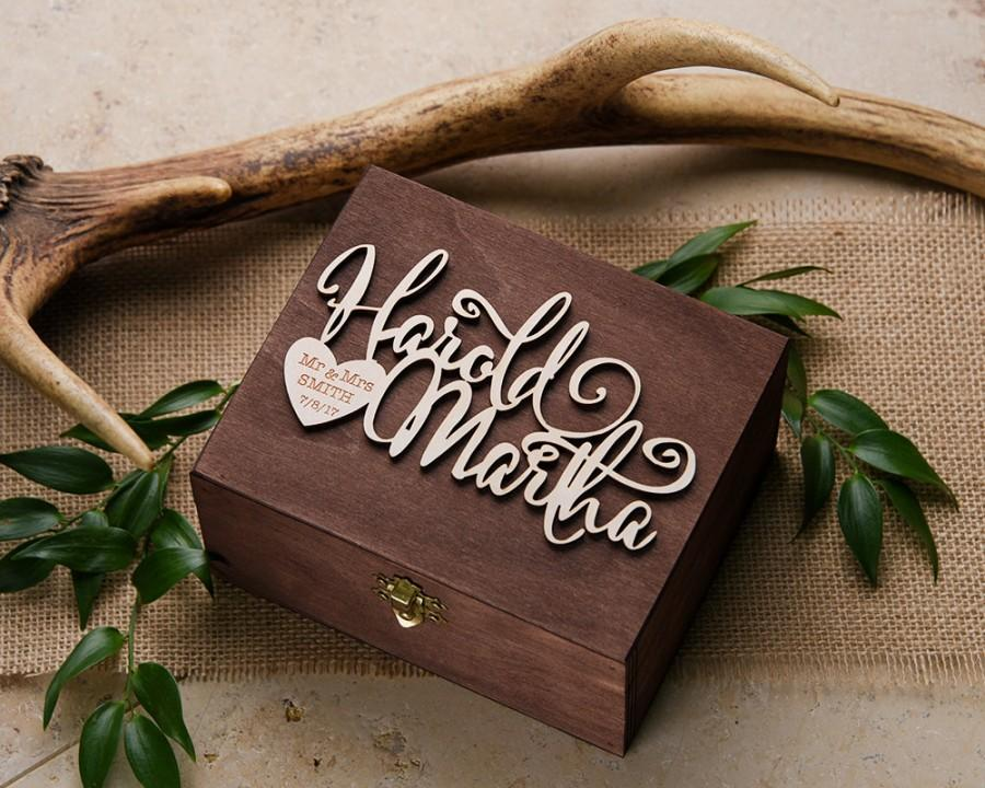 Wood Wedding Ring Bearer Box Rustic Wooden Engraved Holder For