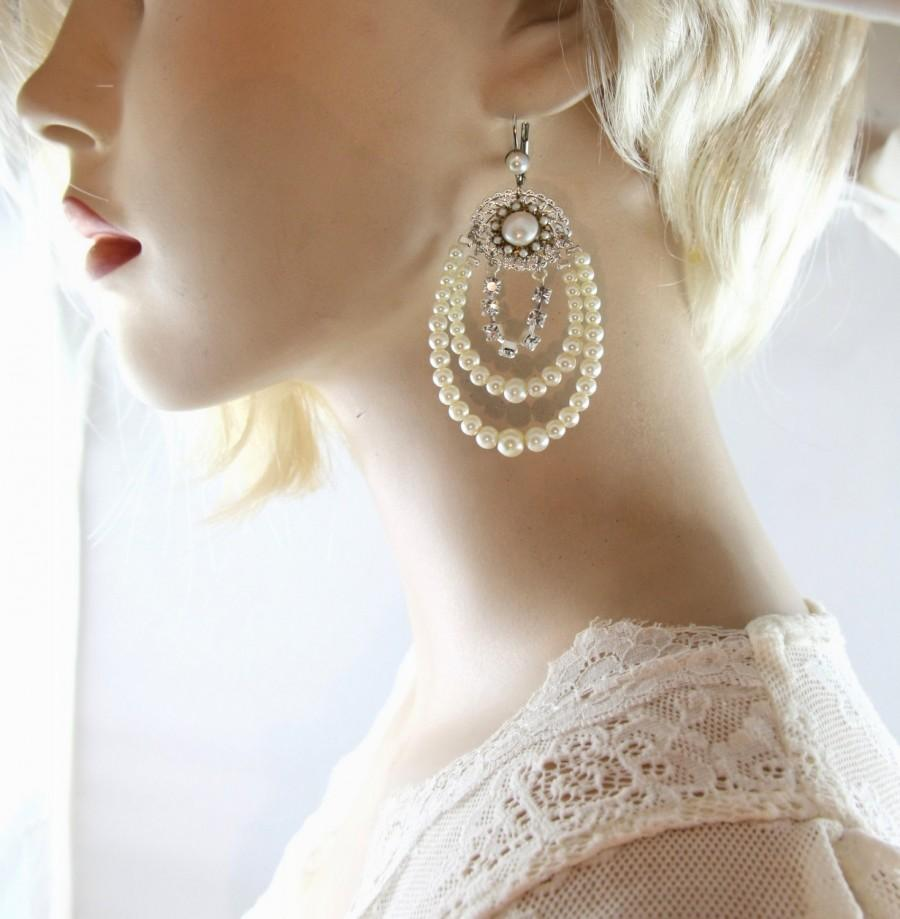 Wedding - Bridal Pearl Chandelier Earrings silver Rhinestone Wedding chandelier bridal earrings Silver Multi strand Victorian Style Wedding Earrings