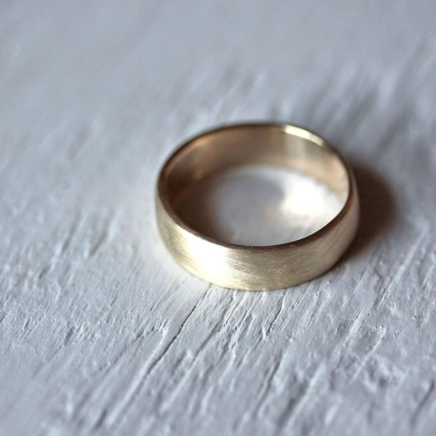men's wedding band, 7mm wide low dome 10k recycled hand carved