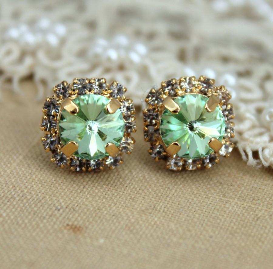 Mariage - Mint Stud Earrings,Clear Mint Swarovski Earrings, Mint Green Bridesmaids Earrings Mint Bridal earrings Gift for woman Swarovski Mint Studs