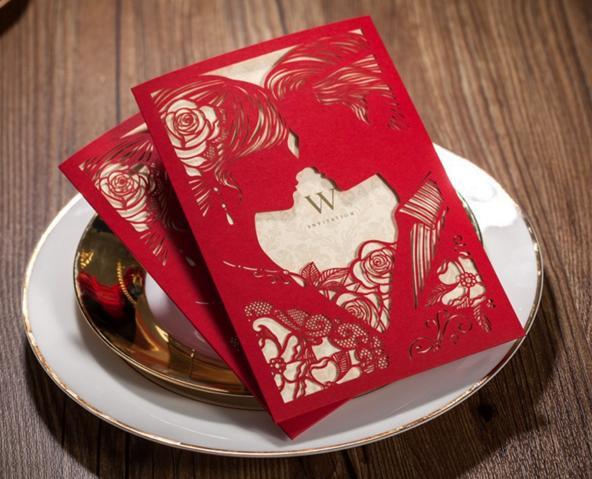 Hochzeit - Bride & Groom Red Laser Cut Card