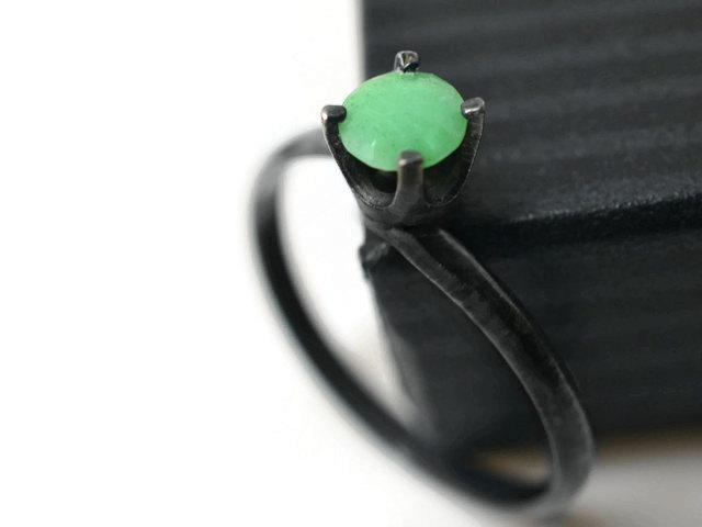 Wedding - Chrysoprase Ring, Natural Bright Green Gemstone Solitaire Ring, Oxidized Silver Dress Ring, Black and Green