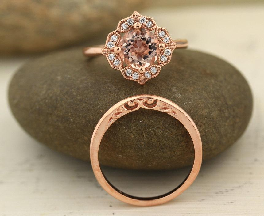 Mariage - Bridal Set Floral Design  Fancy Morganite Engagement Ring with Milgrain 14K Rose Gold Diamond Halo Wedding SET 8mm Round -Gem1141