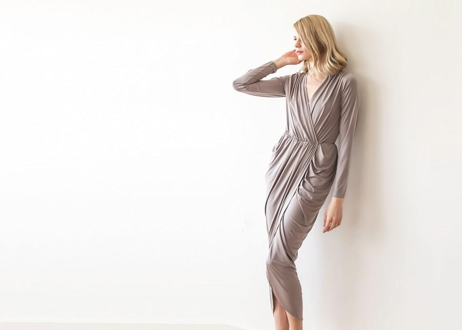 Wedding - Formal taupe maxi wrap dress with long sleeves, Wrap formal taupe gown