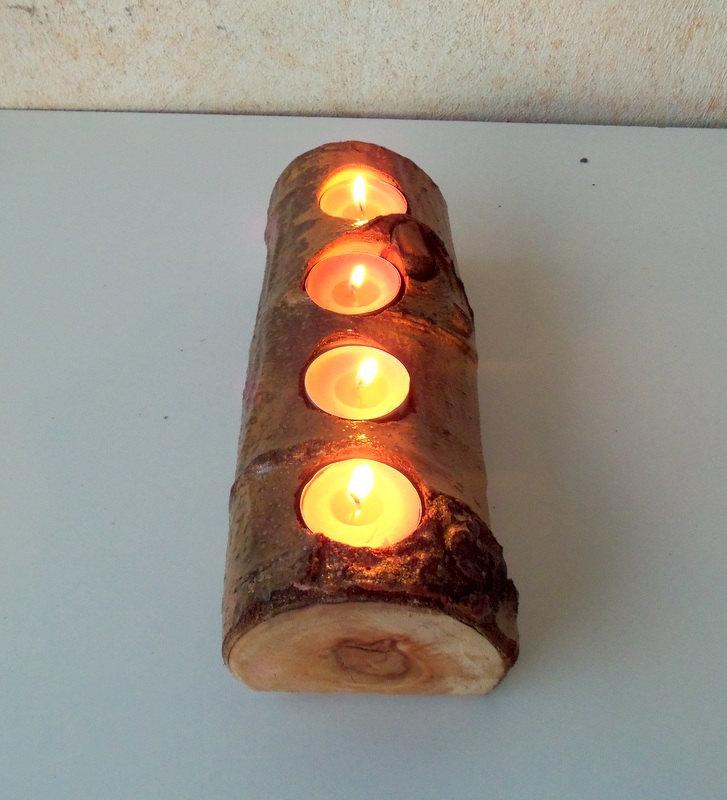 Mariage - Wood Candle Holder -Candle Holder with 4 Tea Light Spots - Wood Log Holder - White Tree Candle Holder - Wedding Decoration