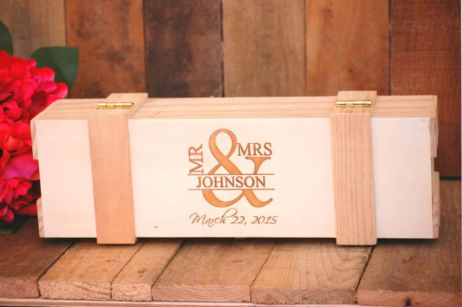 Custom Wedding Engagement Wine Box Ceremony Keepsake Rustic
