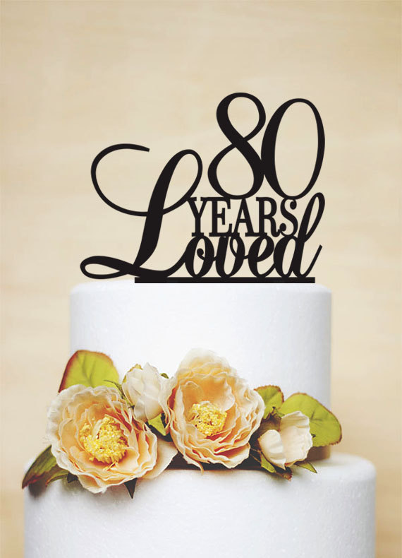 80th Anniversary Cake Topper80th Birthday Cake TopperA024