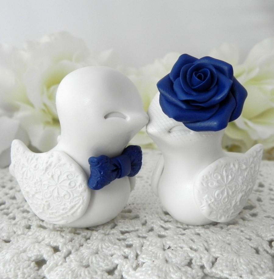 Wedding Cake Topper Love Birds Ivory And Navy Blue