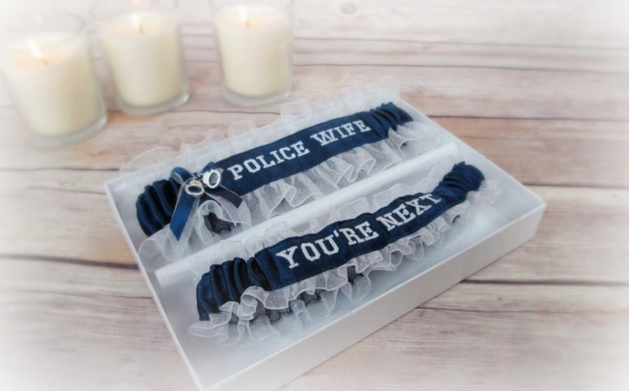 Свадьба - Handcrafted Embroidered Police Wedding Garters - Police Wife Garters - Blue line police garters - Something blue garters.