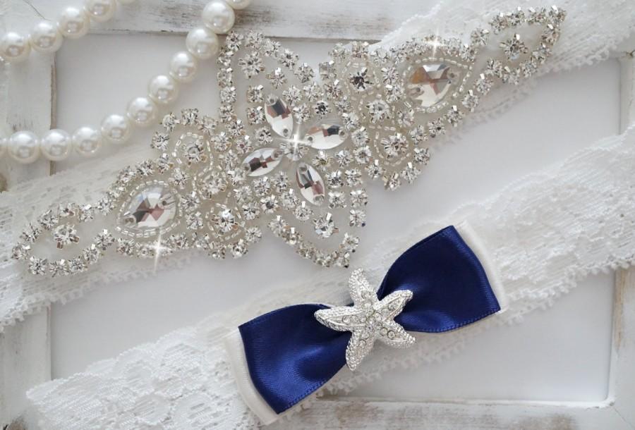Wedding - Wedding Garter Set, Bridal Garter Set, Vintage Wedding, Ivory Lace Garter, Crystal Garter Set, Something Blue