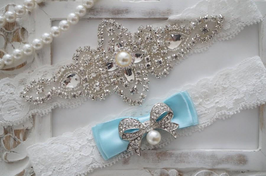 Wedding - Wedding Garter Set, Bridal Garter Set, Vintage Wedding, Crystal Garter Set, Something Blue
