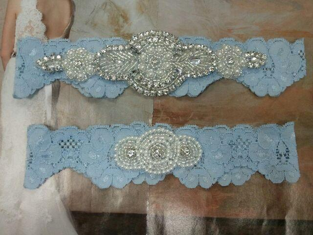 Свадьба - SALE - Bridal Garter, Wedding Garter and Toss Garter - Something Blue with Pearl and Rhinestone - Style G207