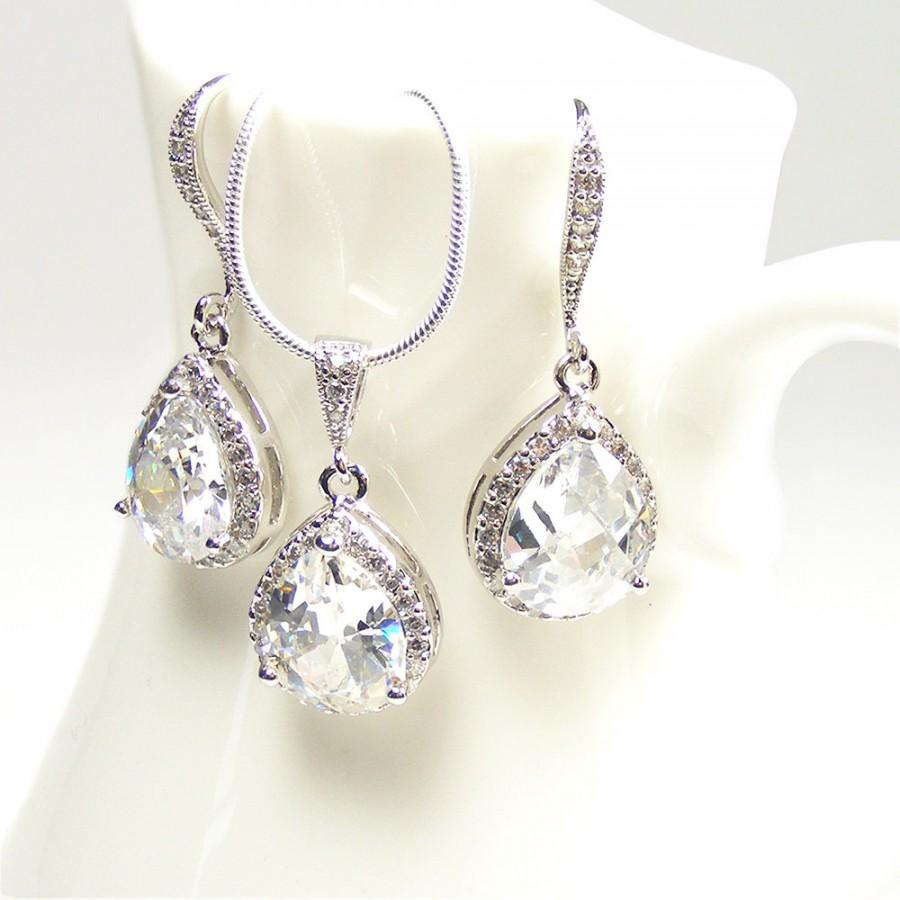 Crystal bridal set teardrop pendant necklace earrings sterling crystal bridal set teardrop pendant necklace earrings sterling silver chain wedding bridal jewellery aloadofball Gallery