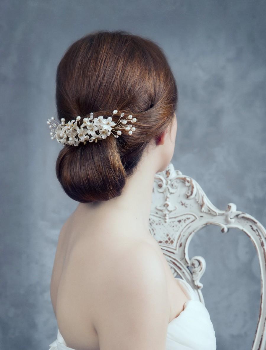 Свадьба - Bridal headpiece. Rhinestone headpiece. Pearls comb. Orange blossom headpiece. Bridal comb. Floral comb. MOD540 bridal headpiece