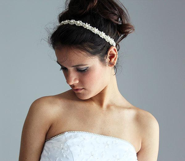 Свадьба - Wedding headband,  Bridal Headband,  Bridal Hair Accessory, Rhinestone and Pearl  headband, Wedding hair Accessory