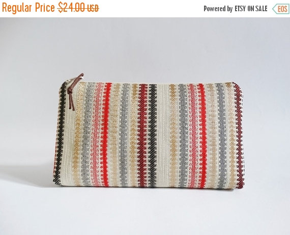 Mariage - Clutch for Girl red striped, Bridesmaid gift Bag, Gift for Sister, Valentines gift, Cosmetic Purse