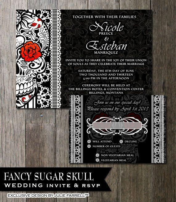 Sugar Skull Wedding Invitation Black White Day Of The Dead Printable Invite Dia De Los Muertos Stationery