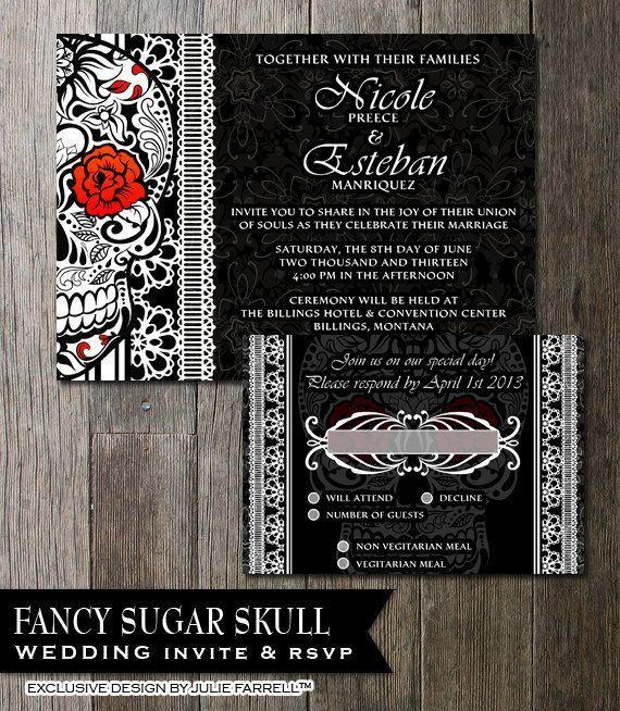 Sugar Skull Wedding Invitation Black White Day Of The Dead Printable Invite Dia De Los Muertos Stationery