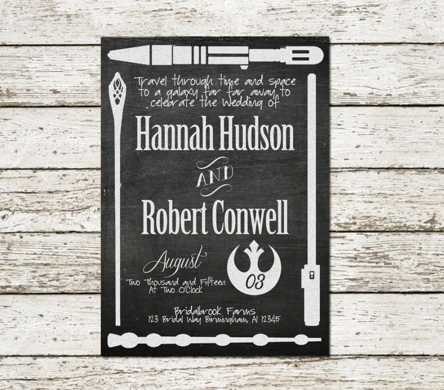printable wedding invitation star wars lord of the rings harry potter dr who doctor diy invite fantasy movie weapon chalkboard geek nerd - Harry Potter Wedding Invitations
