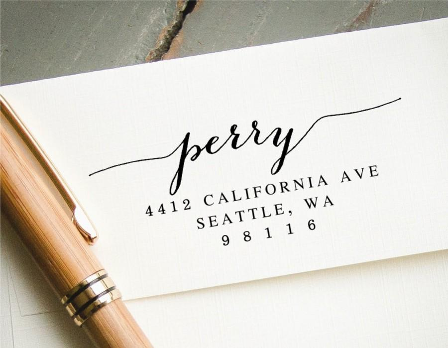 Wedding - Self Inking Stamp, Hand Calligraphy Look, Custom Stamp, Personalized Stamp, Return Address Stamp, Custom Address Stamp, Wedding Announcement