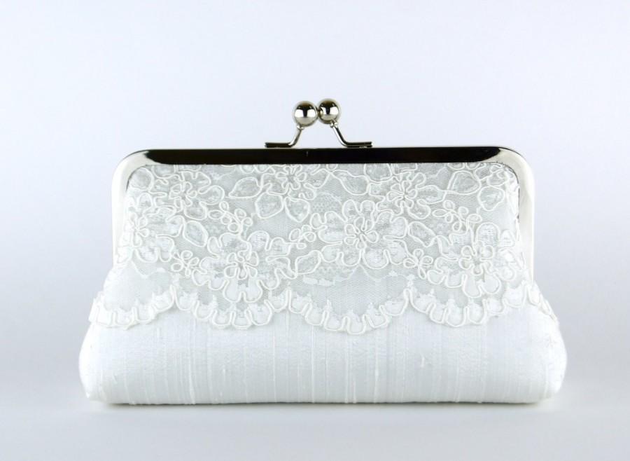 Hochzeit - Bridal Clutch, Silk Clutch, Bridesmaid Gift, Wedding clutch