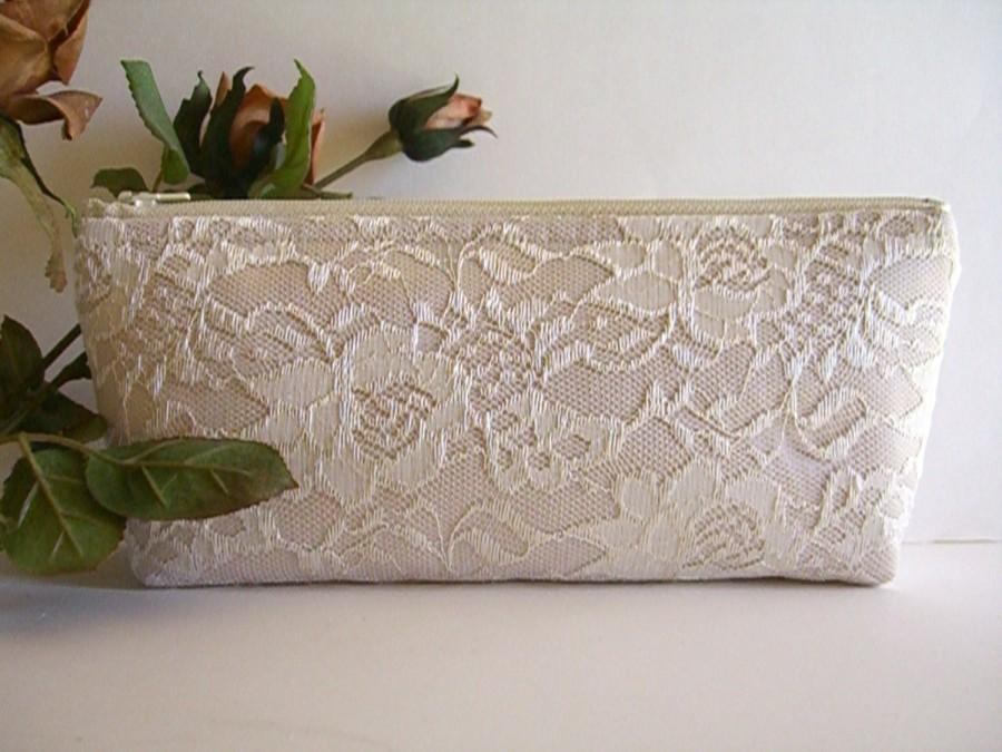 Hochzeit - Satin And Lace Clutch - Bridesmaid Makeup Bag - Wedding Clutch - Lace Makeup Bag - Bridesmaid Clutch - Bridal Clutch - Bridesmaid Gift