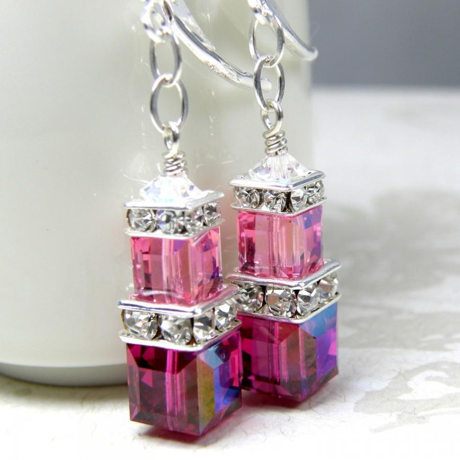 Wedding - Ruby and Pink Earrings, Fuchsia, Rose Swarovski Cube, Stacked Crystal, Sterling Silver, Bridesmaid Wedding Jewelry, July Birthday Birthstone