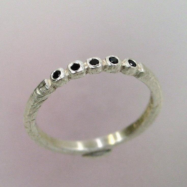 97ea5c8535d Black Diamond Ring, Rustic Wedding Band, Unique Ring, Silver Stacking Ring,  Delicate Silver Ring, Made to order
