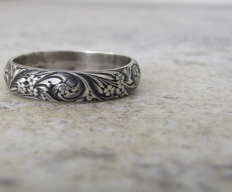 Engraved Antique Wedding Band Floral Pattern Ring Silver Womens Promise Rings Purity Gift For Her