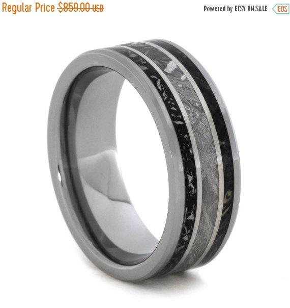 Mariage - Wedding Sale Meteorite Ring with Black Stardust and Box Elder Burl Complements, Mens Tungsten Wedding Band