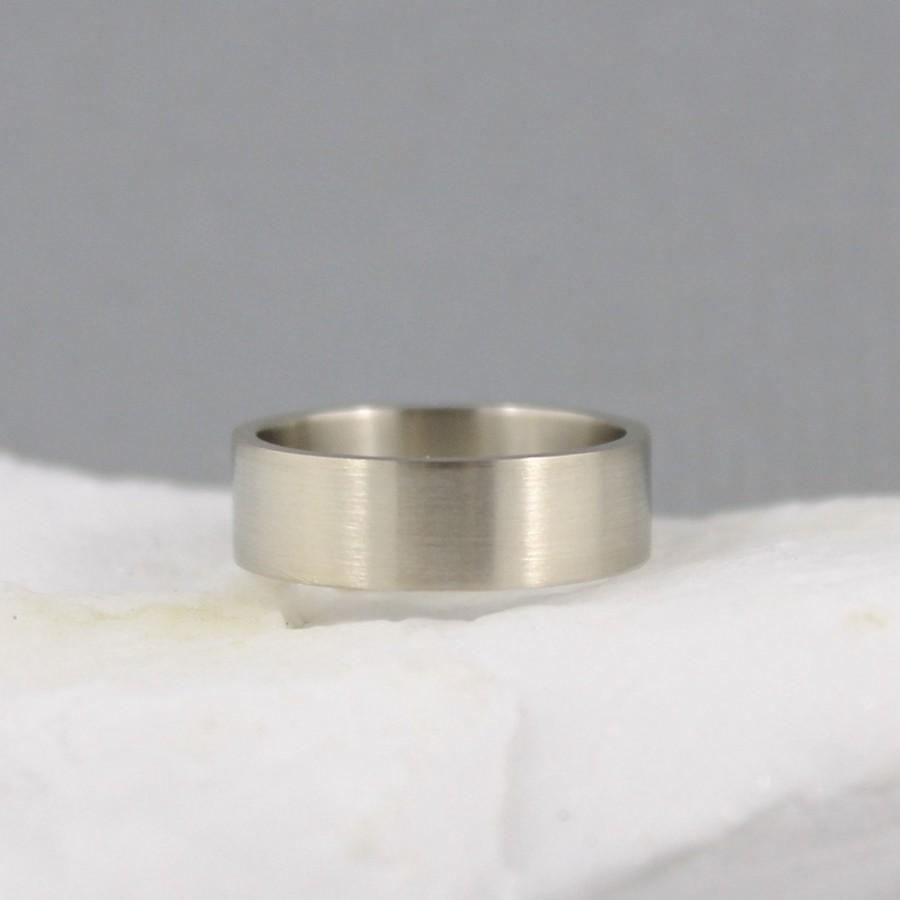 Свадьба - 6mm 14K White Gold Wedding Band - Unisex - Matte Finish or Polished Finish - Commitment Rings - Classic Wedding Band - Mens Wedding Ring