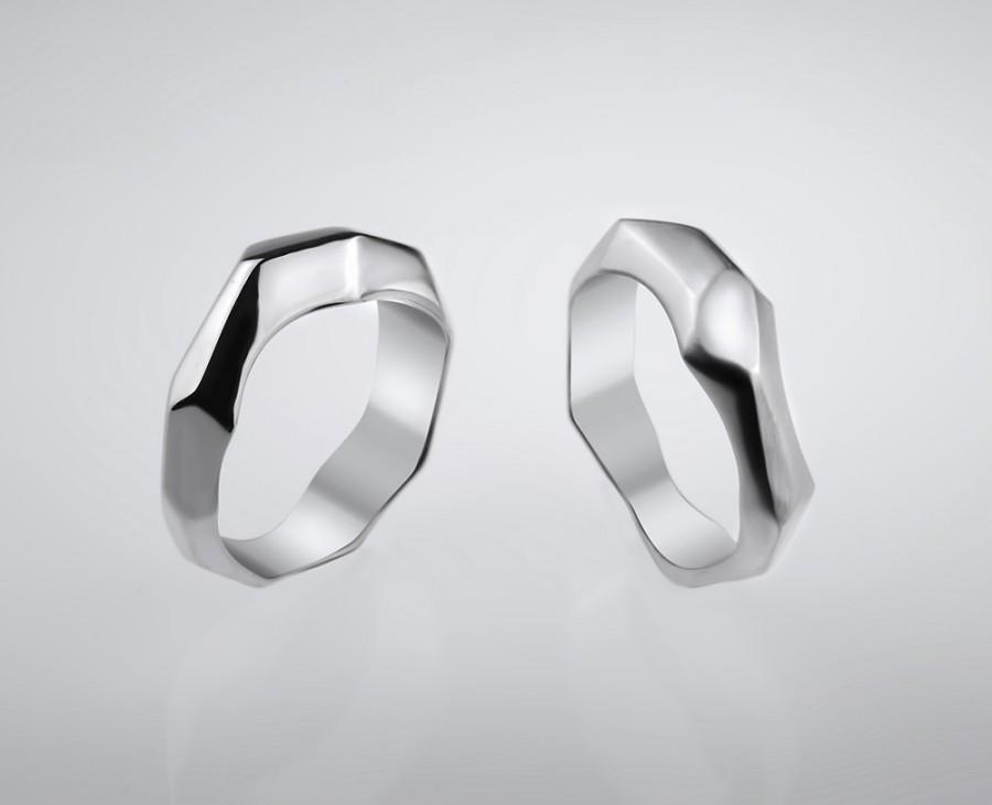 Mariage - Handmade Geometric Silver  Ring For Men , Jewelry Gift , RS-1041