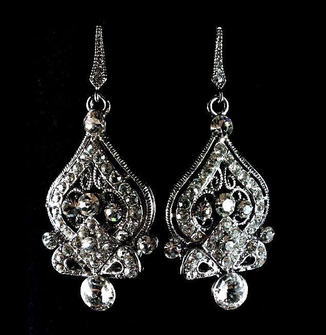 Mariage - Victorian Wedding Earrings, Ornate Bridal Jewelry, Swarovski Crystal Earrings, Dangle Jewelry, ALISHA