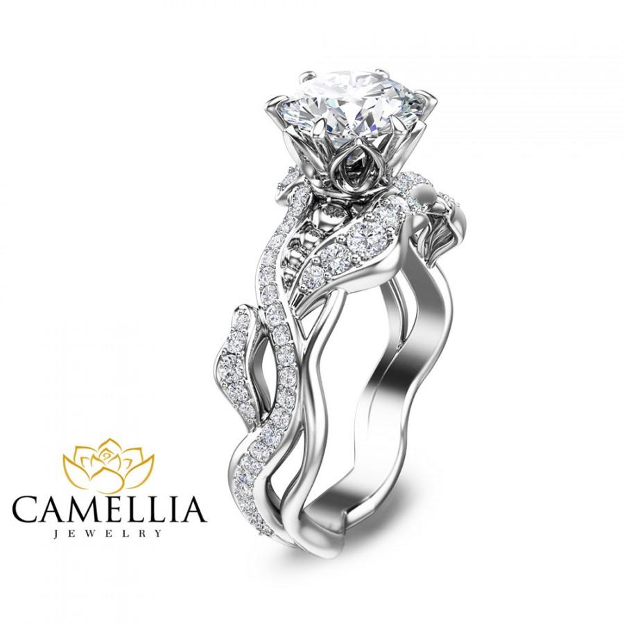 Mariage - Unique Engagement Ring 14K White Gold Diamond Ring Leaf Ring