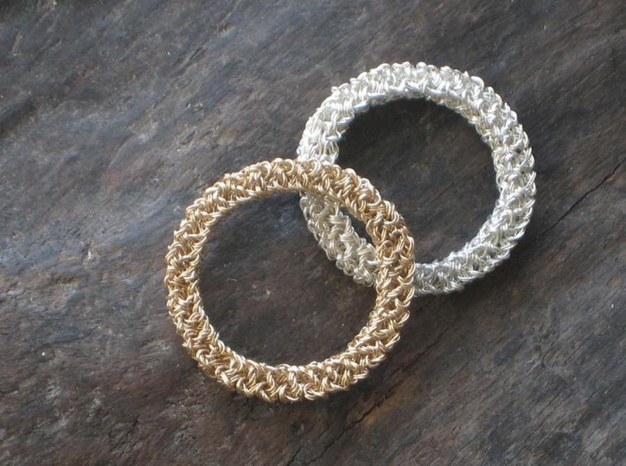 Mariage - 14k Gold WEDDING Band & ENGAGEMENT Ring Hand Crochet Wire—CUSTOM: Yellow or White Gold [Crochet Bande de Mariage Or