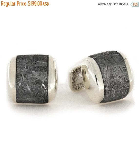 Mariage - Wedding Sale Square Cuff Links made with Gibeon Meteorite, Sterling Silver Cuff Links