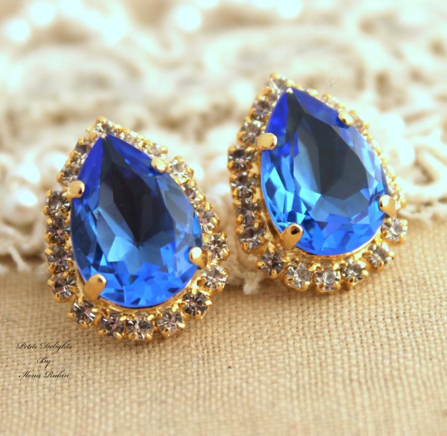 Свадьба - Sapphire Earrings, Blue Navy Bridal Earrings, Swarovski Dark Blue Earrings, Bridesmaids Earrings, Navy Blue Bridal Earrings,Crystal Earrings
