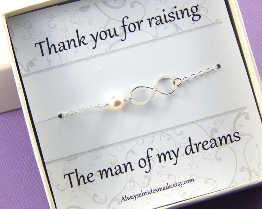 Mariage - Mother Of The Groom  Card With Sterling Silver Infinity Bracelet - Gift Boxed Bracelet For Mother